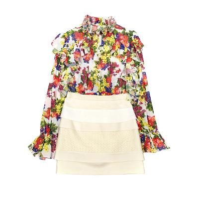 flower ruffle blouse & tiered h line skirt